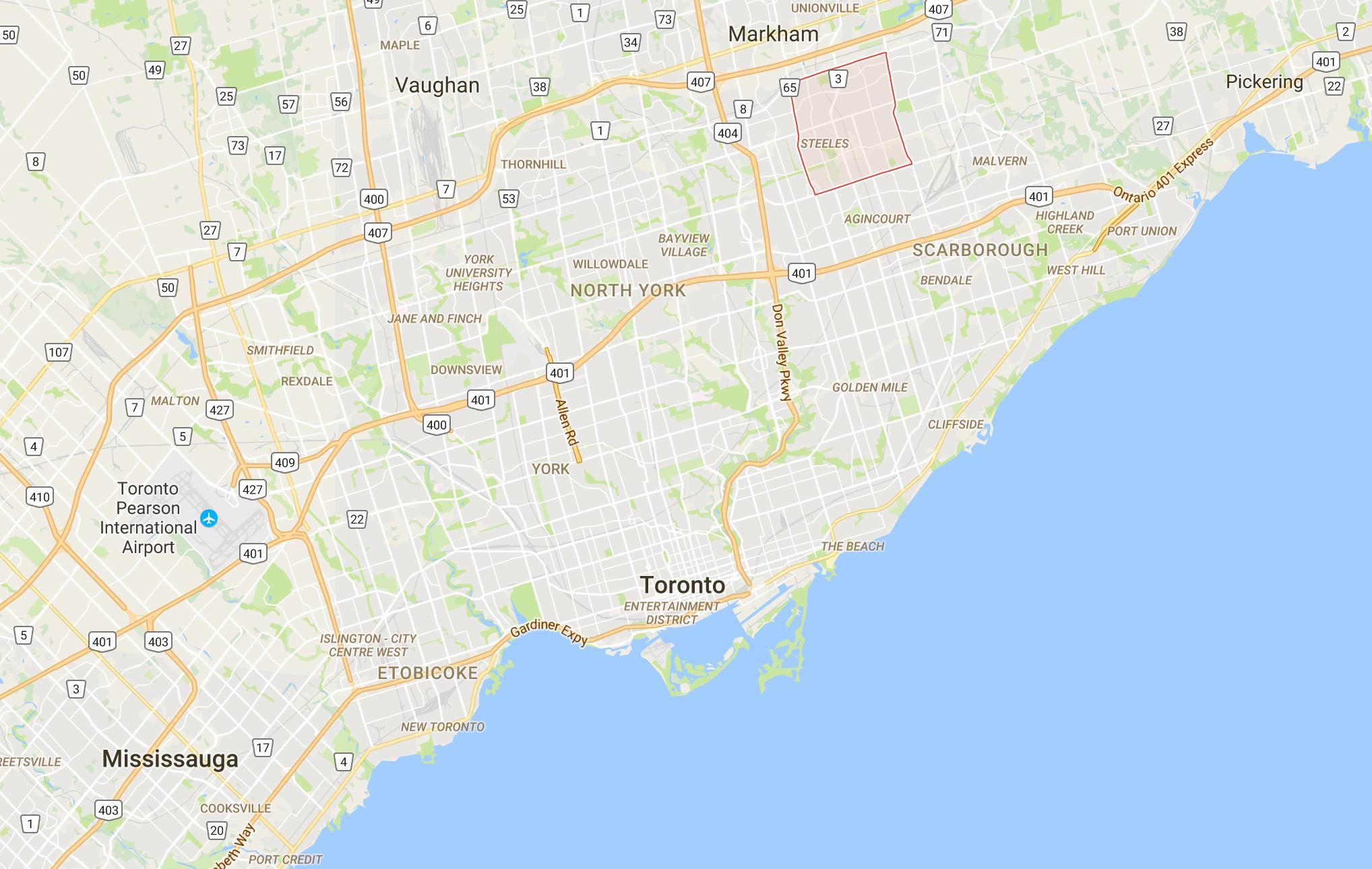 Milliken District Toronto Mapa Mapa Milliken District Toronto